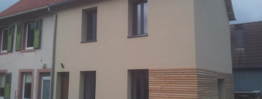 Rénovation maison orbey, façade et bardage bois
