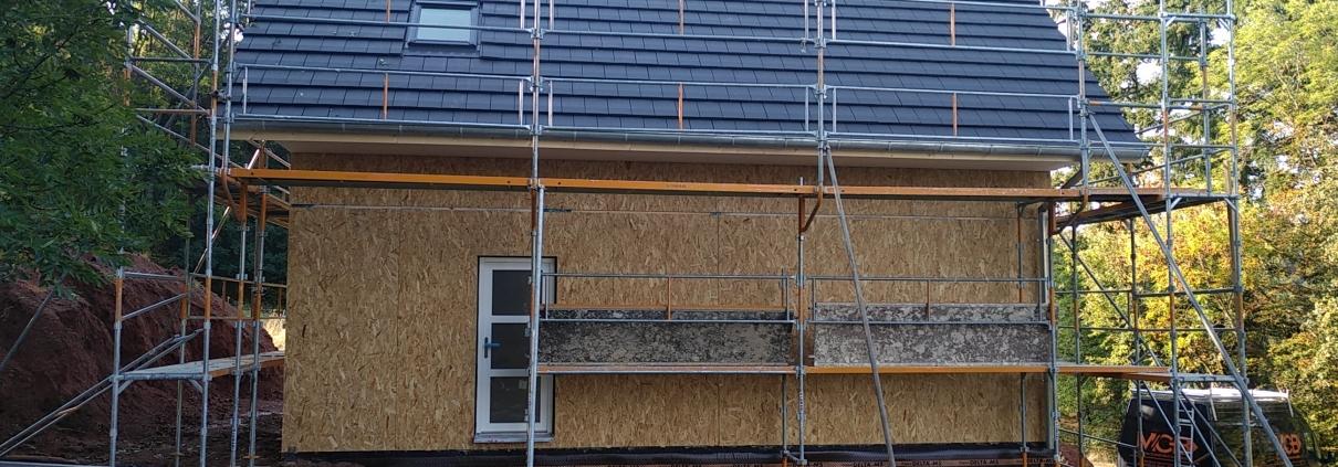 Construction maison ossature bois, vue extérieure, constructeur haut rhin, alsace