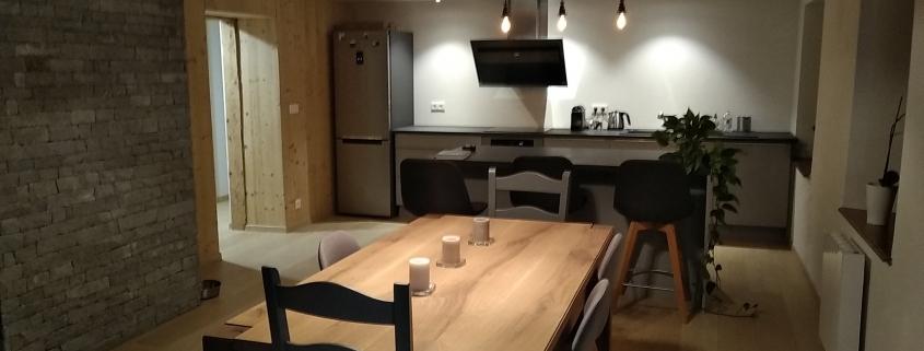 Rénovation ferme orbey création espace de vie cuisine