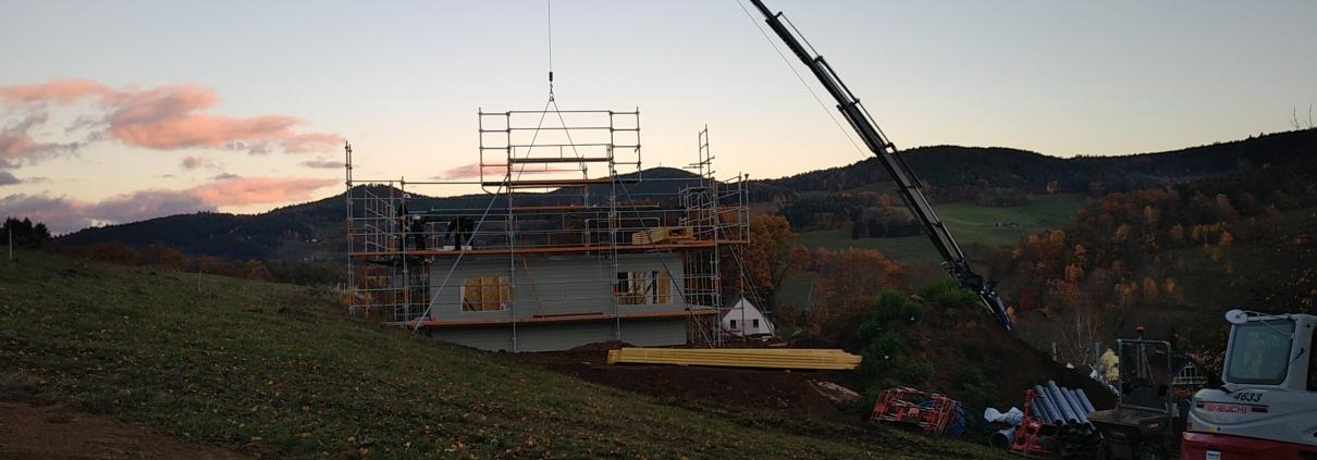 Construction maison neuve ossature bois, chantier dans le haut rhin, alsace