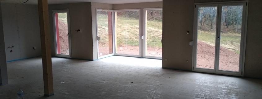 Maison ossature bois, chantier, baies vitrées. Constructeur dans le haut rhin, alsace.
