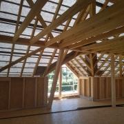 Maison ossature bois, cloisons et charpente, chantier et constructeur dans le haut rhin, alsace.