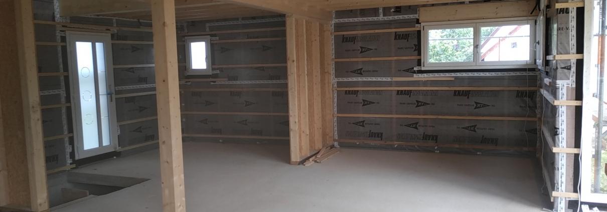 Maison ossature bois, chantier, cloisons. Constructeur dans le haut rhin, alsace.