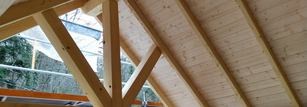 Maison ossature bois, charpente, chantier et constructeur dans le haut rhin, alsace.